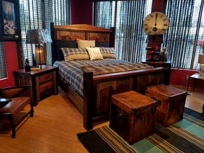 rustic reclaimed wood bed - bedroom furniture in montana